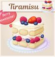 triple berry tiramisu dessert icon vector image vector image