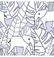 tropical black and white leaves and elephant vector image