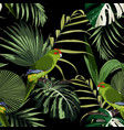 tropical floral print green parrot bird vector image vector image