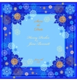 Winter wedding frame with cyan and blue snowflakes vector image vector image