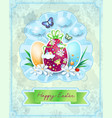 easter card with eggs in vintage style vector image