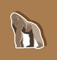 gorilla paper sticker on stylish background vector image