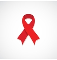 Red ribbon HIV AIDS isolated on grey vector image