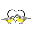 A couple of birds titmice with a heart vector image vector image