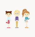 a group cute cartoon kids girls and a boy vector image