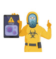 a man in yellow radiation protective suit shows a vector image vector image