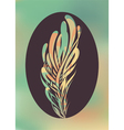 Abstract feather in black frame vector image vector image