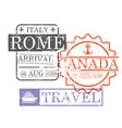 arrival ship travel stamps of rome and canada in vector image vector image