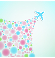 background with airplane and colorful jet vector image vector image