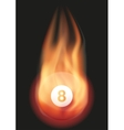 Billiard ball with flame vector image