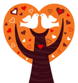Birds couple in a orange heart tree vector image vector image