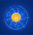bitcoin conceptual glowing background crypto vector image vector image