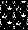 black and white queen crown seamless pattern with vector image vector image