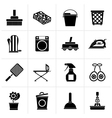 Black Household objects and tools icons vector image vector image