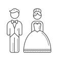 bride and groom line icon vector image vector image