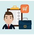 Businessman and suitcase isolated icon design vector image