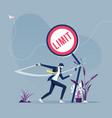 businessman cutting limit beliefs sign