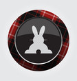 button red black tartan - rabbit rear view icon vector image vector image