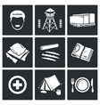 Camp for displaced persons Icons Set vector image vector image