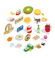 dinnerware icons set isometric style vector image vector image