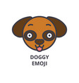 doggy emoji line icon sign vector image vector image