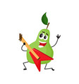 flat pear fruit character rockstar guitar vector image