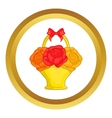Flowers in basket icon vector image vector image