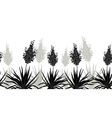 Flowers Yucca silhouette horizontal seamless vector image vector image