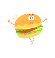 funny burger cartoon fast food character element vector image vector image