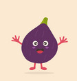 funny happy fig character design vector image