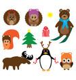 funny winter animals vector image vector image