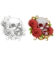 grey skull with red roses tattoo vector image