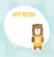 happy birthday card template with cute bear vector image