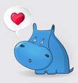 hippopotamus thinking about love speech bubble vector image vector image