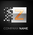 letter z logo symbol in the golden-silver square vector image