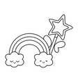 magic wand with cloud and rainbow black and white vector image vector image