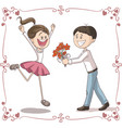 man brings flowers to shy woman cartoon vector image