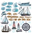 Marine Sketch Set vector image vector image