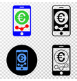 mobile euro chart eps icon with contour vector image vector image