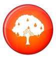 Pear tree with pears icon flat style vector image vector image