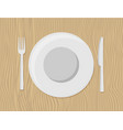 plate with cutlery dinner flat background vector image