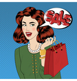 Pop art Style Sale banner Girl with Shopping Bags vector image