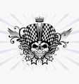 racing skull and chekered vector image vector image