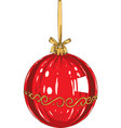 red christmas glass bauble vector image vector image