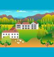 rural valley farm countryside village landscape vector image vector image