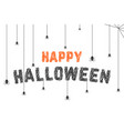 scribble happy halloween text with spider web vector image
