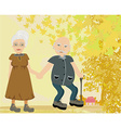 Senior couple walking in autumn day vector image vector image