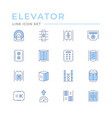 set color line icons elevator vector image