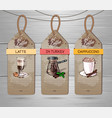 set of restaurant labels of coffee menu design vector image vector image