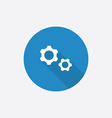 Settings Flat Blue Simple Icon with long shadow vector image vector image